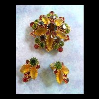 Vintage Autumn Colors Brooch and Earrings