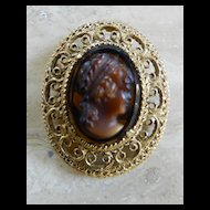 Vintage Tiered Florenza Carved Shell Tortoise Cameo Brooch Vintage 1950's