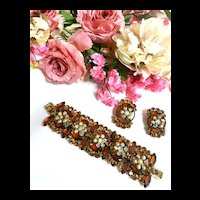 Humongous Vintage Juliana Topaz 5 Link Bracelet and Earrings