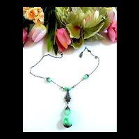 Early 1900's Peking Glass Czech Drippy Necklace