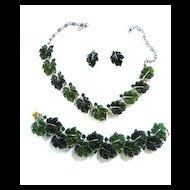 Lisner vintage Maple Leaf necklace Bracelet Earrings