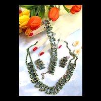 Return to Elegance Encrusted sapphire Blue Rhinestone Vintage Necklace Bracelet earrings