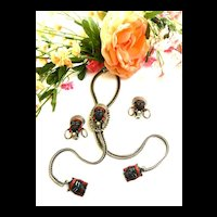 Nubian Princess lariat Vintage Necklace and Earrings