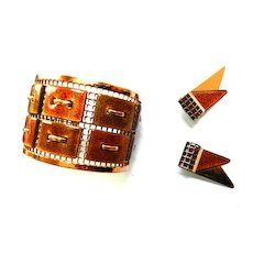Matisse Tapestry Vintage Cuff Bracelet and Matching Earrings