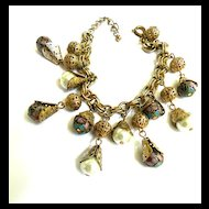 Lots of Noise Venetian Glass and Faux Pearl Vintage 70's Charm Bracelet