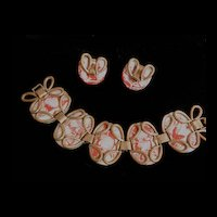 Vintage Matisse Red and White Copper and Enamel Guinevere  Bracelet and earrings