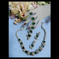 Return to Elegance Encrusted Rhinestone Vintage Necklace bracelet earrings