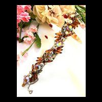 Fabulous Unsigned Designer High End Topaz Navette Rhinestone Vintage Bracelet