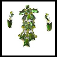 Gargantuan Emerald Glass Kite Shaped Vintage Brooch and Earrings