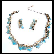 Matisse Vintage Butterfly Copper and Robin Egg Blue Enamel Necklace and Earrings