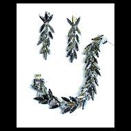 Exquisite Vintage Juliana Hematite Rhinestone Bracelet and Chandelier Earrings