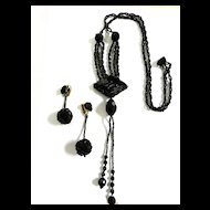 Fabulous Flapper Long Bugle Bead Black faceted Crystal Necklace and Earrings