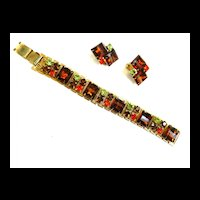 Gorgeous Autumn Shades of Rhinestones Vintage Bracelet and Earrings