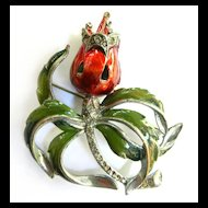 Jaw Dropping Gorgeous Vintage Enamel Humongous Brooch