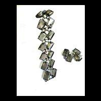 Return to Elegance Massive Schiaparelli Smoke and Aurora Borealis Bracelet and Earrings