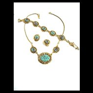 Vintage Art Glass 50s Turquoise and Filigree Necklace Bracelet Earrings
