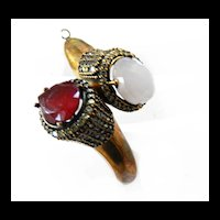 Huge Vintage Faux Moonstone and Ruby Red Cuff Bracelet