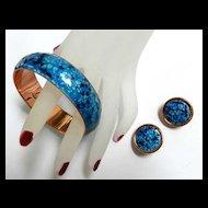 Vintage Matisse Renoir Enamel and Copper Speckled Bracelet and Earrings