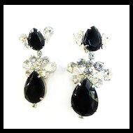 Fabulous 1950s Jet Black and Ice Glass Huge  Diva Earrings