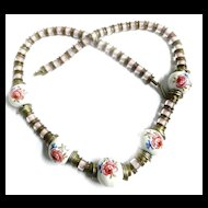 Extraordinary early 1900s Hand Painted Porcelain Massive Necklace