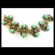 High End Designer Green Cabochon And Amethyst Rhinestone Chunky bracelet