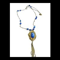 Early 1900s Czech Lapis Glass Pendant Necklace