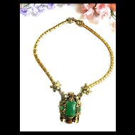 Designer Chunky Faux Pearl and Faux Jade Victorian Revival Necklace