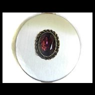 Fabulous Vintage Jeweled Powder Compact Amethyst Stone