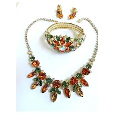 Show Stopping Vendome Hyacinth Necklace Huge Bracelet Earrings Brooch