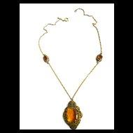 Czech Victorian Topaz Pendant Necklace Old World Charm