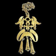 Awesome Mystical 1950 Egyptian Revival Double Griffin Necklace