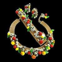 Extravagant 1950s Hobe Fruits of Summer Necklace Bracelet Earrings