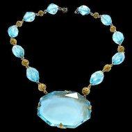 Early 1900s Czech Enormous Cut Glass Aqua Stone Necklace