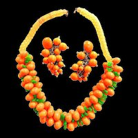 Beach Party Bingo Huge Orange Early Plastic Necklace and Drippy Earrings