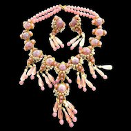 Magnificent Faux Pearl Hagler Massive Rose Glass Cabochons Necklace and Earrings