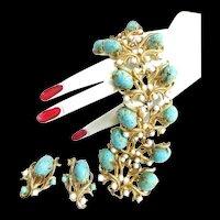 Spectacular Schiaparelli Vintage Massive Faux Turquoise Matrix Cabochon Bracelet and Earrings
