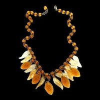 1920s Glass and Celluloid Czech Big Drippy Necklace