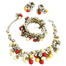 Incredibly Hard to Find 50s Fruit Salad Hobe Complete Parure