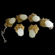 Fabulous 1940s Schiaparelli Winter White Cabochon Bracelet and Earrings