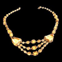 Early 1900s Czech Jonquil Drippy Rhinestone  Necklace