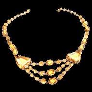 Early 1900s Czech Jonquil Drippy Rhinestone  Necklace