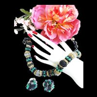 1940s Hobe Exquisite Beaded Necklace and Earring Demi