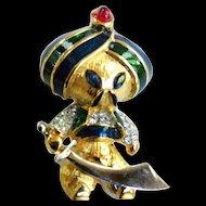 Super Rare Jomaz Turban Man with Sword Enamel and Rhinestone Brooch