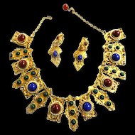 Jaw Dropping Egyptian Revival Vintage  Glass Cabochon Faux Pearl Necklace and Earrings