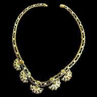 Early 1900s Egyptian Revival Czech  Enamel Panel Necklace