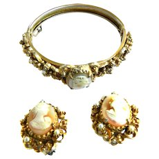 Vintage Florenza Cameo Clamper and Earrings Faux Pearls
