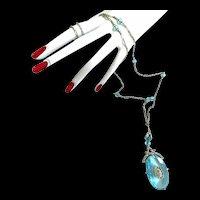 Breathtaking Aqua Marine Flapper 1920s  Necklace