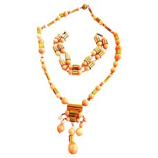 Gorgeous Faux Coral Art Deco Style 1930s Parure