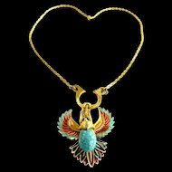 Outstanding Jomaz Egyptian Revival Enamel Pendant 1950s