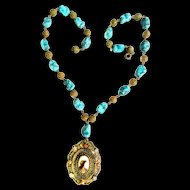Early 1900s Turquoise Czech Necklace with Portrait Cameo